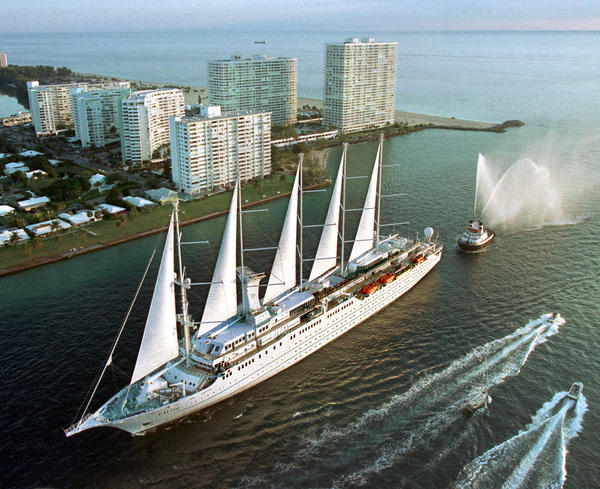 Windstar Cruises' 617-foot-long, 308-passenger, Wind Surf sailing cruise ship arrives at Port Everglades.