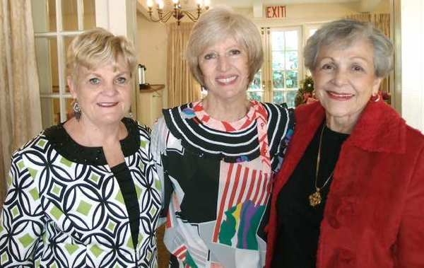 "Members of the recent La Canada Thursday Club's ''There's No Place Like Home"" Spring Benefit committee gather during the afternoon's festivities - left to right: Jane Rosell, Gracella Gibbs (fashion show chair), and Alma Tycer."