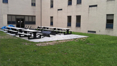 Renovations to the Somerset High School courtyard continue to near completion.