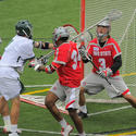 Loyola midfielder Davis Butts, Ohio State goalkeeper Greg Dutton (Calvert Hall)