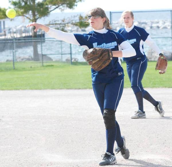 Senior Tori Thompson (foreground) and Kristen Espinoza form the keystone combination for the 2012 Petoskey High School softball team.