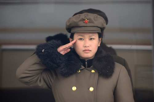 A North Korean soldier salutes in Pyongyang.