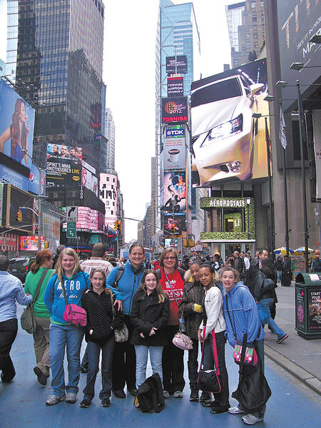 Girls Inc. members and staff shown in New York City include, from left, Amy Smith, Jennifer Morris, Jenn Dorsch (staff member), Amaya Shirley, Barb Martin (staff member), Maleea Disney, Imani Jones and Kaytie Banzhoff.