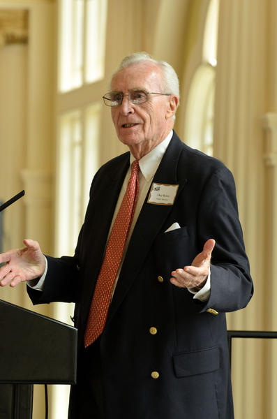 Former UConn basketball coach Dee Rowe was full of jokes in Honoring Howie Dickenman, but also took time to focus on the positive impact Dickenman's important work with Interval House was having.