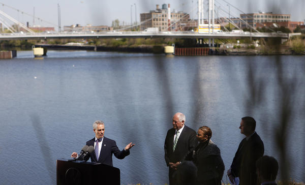 Chicago Mayor Rahm Emanuel speaks at a press conference held at the Wrigley Global Innovation Center where it was announced that there would be funding to help clean up the Chicago River. Gov. Pat Quinn, EPA Administrator Lisa P. Jackson and David St. Pierre, Executive Director with the Metropolitan Water Reclamation District of Greater Chicago, joined Emanuel.