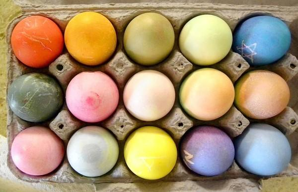 Fifteen eggs laid by our hens and decorated for Easter.