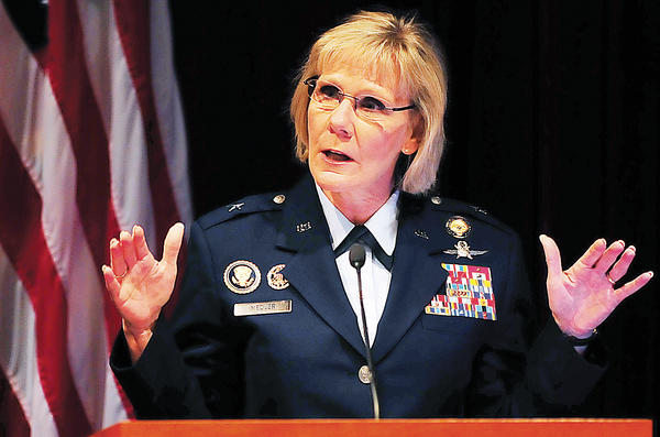 Air Force Brig. Gen. Linda R. Medler, the director of Capability and Resource Integration for the U.S. Cyber Command, speaks Wednesday at the 2012 Cyber Security Regional Conference at Hagerstown Community College.