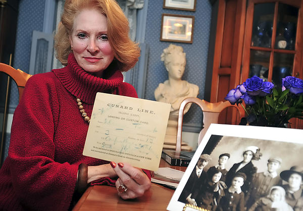 Jean Bruce Cotten of Falling Waters, W.Va., holds the landing card from her aunt Jessie Bruce Trout, who was a passenger on the R.M.S. Titanic. Jessie Bruce Trout was evacuated onto lifeboat No. 9 as the Titanic sank in the North Atlantic Ocean on April 15, 1912.
