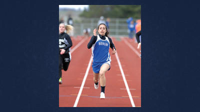 Berlin's Sarah Luprek won the 100 meter dash Thursday with a time of 13.4 seconds.