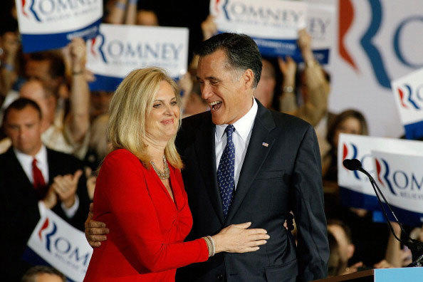 Republican presidential candidate, former Massachusetts Gov. Mitt Romney and his wife Ann Romney celebrate their victory in the Illinois GOP primary.
