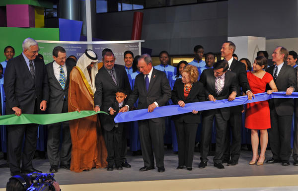 Gavin Mizhel-Baird, a former patient, was given the honor of cutting the ribbon at dedication of the Charlotte R. Bloomberg Children's Center and the Sheikh Zayed Tower at Johns Hopkins Hospital.