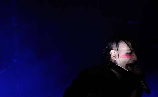 Musician Marilyn Manson performs at the fourth annual Golden Gods awards at Nokia theatre in Los Angeles, Calif.