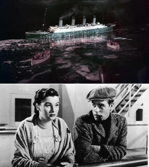 This Barbara Stanwyck film was the first to paint Titanic as a tragic love story, featuring an estranged couple reuniting on the voyage, and their daughter being romanced by a tennis player, played by a young Robert Wagner (pictured bottom).