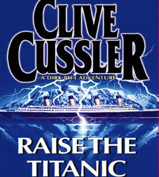 This Clive Cussler novel features Dr. Gene Seagram and Dirk Pitt bringing the Titanic up from its watery resting place in order to harvest the store of a rare mineral on board that is needed for a top-secret U.S. defense project. The ship is brought to the surface by patching the holes and using compressed air. No one yet knew that the ship is actually resting in two pieces, as the wreckage had not yet been discovered when the novel was written.