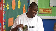 A professional football player is taking time away from the field to share his love of reading in Lynchburg.