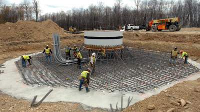 Contractors place steel rebar Thursday before pouring concrete in the base support of a turbine being built along Twin Ridges in Southern Somerset County.