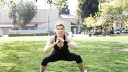 "You don't need a gym or pricey fitness machines to get a great workout. Here Jackie Warner (www.jackiewarner.com), star of Bravo's fitness reality show ""Work Out,"" and author of the new book ""10 Pounds in 10 Days,"" demonstrates a close-to-wide squat. All you need is a flat surface and some way to demark a circle. A jump rope works just fine."