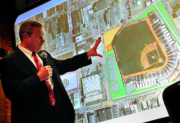 Hagerstown Mayor Robert E. Bruchey II describes a proposed stadium development at Summit Avenue and W. Baltimore Street in this file photo.