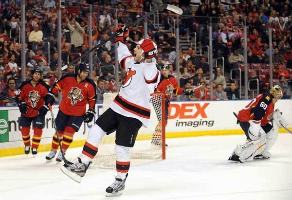 David Clarkson of the New Jersey Devils celebrates a 2-0 lead in the first period against the Florida Panthers. New Jersey Devils vs. Florida Panthers Round 1 NHL Playoffs. BankAtlantic Center, Sunrise, Florida.