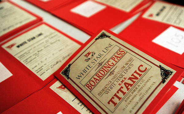 Boarding passes wait for guests to pick-up at The King George Inn in Allentown for the commemoration dinner to mark the 100th anniversary of the sinking of the R.M.S. Titanic Friday night.