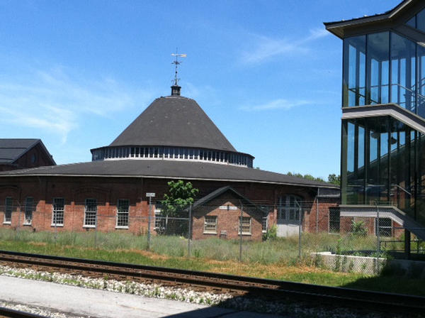 The exterior of the B&O Roundhouse in Martinsburg, W.Va.