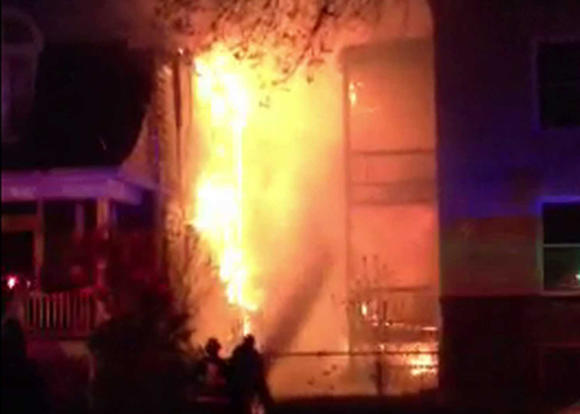 Still image from video of an extra-alarm fire in the Ravenswood neighborhood Friday night. WGN-TV