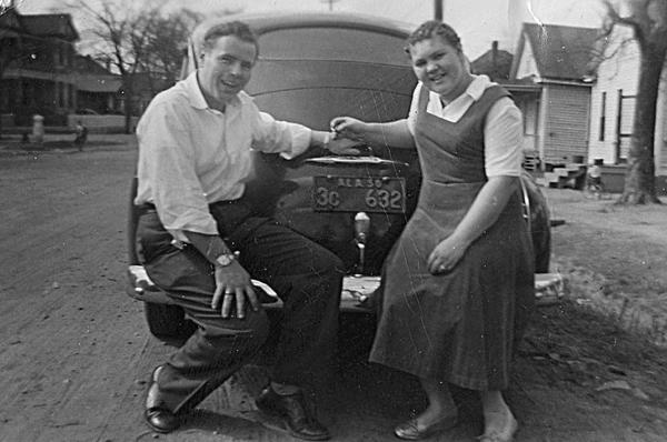 Billy Hose and Dottie Faulk in 1949 after they were engaged.