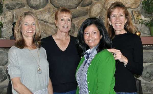 Attending the recent wine and cheese soiree celebrating the upcoming 41st Annual Flintridge Horse Show, set for April 26 through 29, are Susan Azad, from left, Lydia Doherty, Chris Warner, and Stephanie Love.