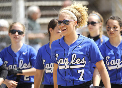 In Nazareth against Bethlehem Catholic softball at Patriots Park Saturday Nazareth players leave the field after winning. At center is Nazareth's Dominique Chamberlain (7).  Nazareth won 9 - 6.