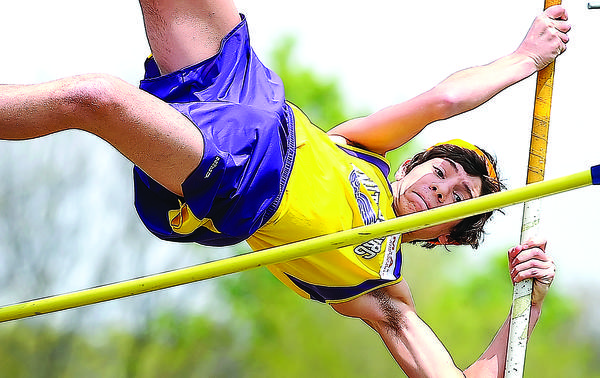 Smithsburg's Taylor Lampasona clears the crossbar set at eight feet during the pole vault on Saturday in the Charas Heurich Invitational. Lampasona finished 11th in the event, clearing 10 feet.