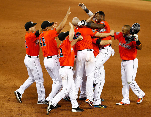 Hanley Ramirez of the Miami Marlins celebrates hitting a bases loaded walk off single in the 11th inning.