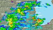 National Weather Service radar image of storms hitting the Chicago area Sunday evening.