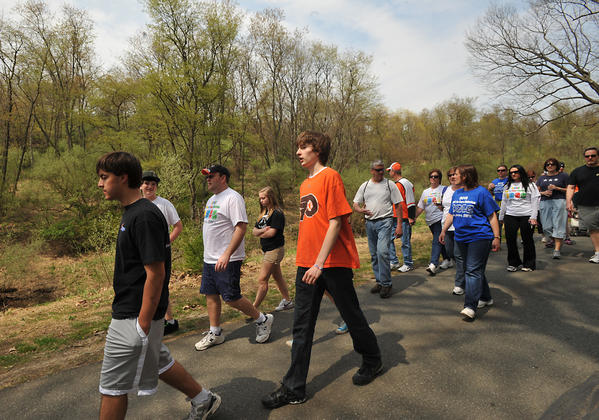 Participants trek through the Trexler Nature Preserve during Sunday's Lehigh Valley 2012 Walk to Cure Diabetes. The walk, which began at Lehigh Carbon Community College,  was held by the East Central Pennsylvania Branch of the Juvenile Diabetes Research Foundation (JDRF), LCCC, and the Trexler Nature Preserve,.   JDRF expects the participation of more than 700 walkers representing local corporations, families, schools, and other organizations at its annual walk. The fundraising goal of the chapter is to raise more than $100,000 for research to find better treatments and a cure for diabetes and its complications.