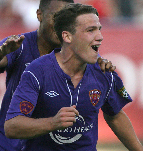 Orlando City's John Rooney celebrates his second goal against the  Wilmington Hammerheads Sunday, April 15 at the Citrus Bowl in Orlando, Fla.