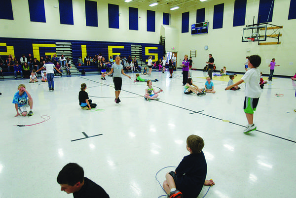 About 50 students from all five Aberdeen public elementary schools competed at the Annual All-City Jump Rope Contest on Thursday at Simmons Elementary School. American News Photo by Kevin Bennett