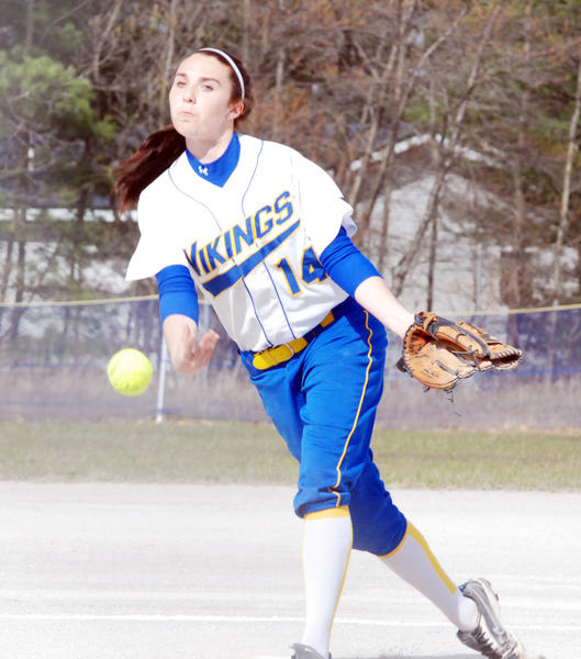Alanson pitcher Becky Madden delivers to the plate Friday during a non-league doubleheader with Gaylord St. Mary.