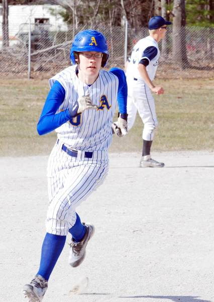 Alanson's Brandyn Oliver rounds third base during a game Friday with Gaylord St. Mary.