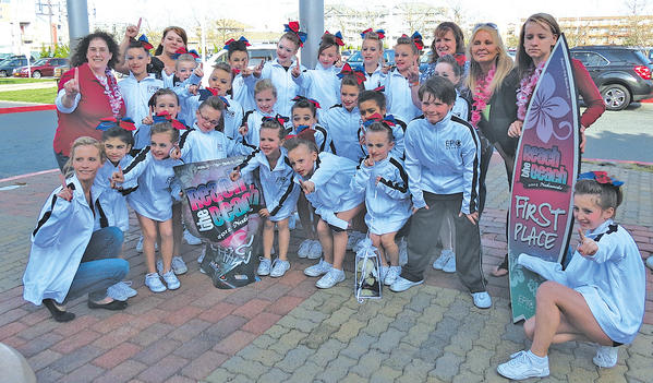 The Hagerstown Heat's Level 1 cheer team known as Sizzle recently took first place at the Reach the Beach All-Star Nationals in Ocean City, Md. Bottom row, from left, Anna Miles (head coach), Rivkah Aguayo, Kendle Creager, Kimberly Barkdoll, Jazlyn Smiley, Katlyn Knipple, Carrie Barkdoll, Brianna Kelley, Mariska Smiley, Lexi Reed, Diamond Moore, Teagn Whitsell, Ben Desclous and Alyssa Letendre. Top row, Dorine Aguayo (coach), Alexandra Engelbrecht, Kelli Whitsell (coach), Jillian Bowman, Jada Tibbs, Shirah Aguayo, Tyler Holly, Haven Ridenour, Autumn Mentzer, Charity Hoopegarner, Kim Letendre (coach), Jordan Glushakow, Pat Johnson (coach), Felicia Smiley (coach).