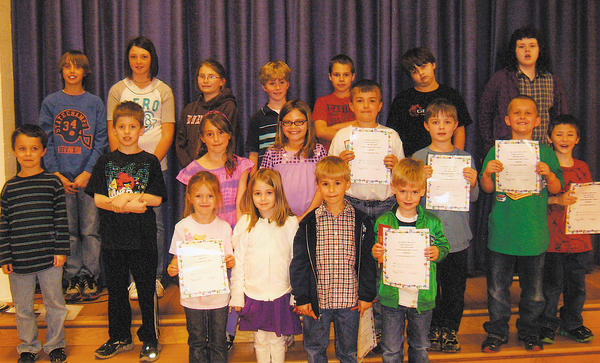 Clear Spring Elementary School honored students who demonstrated the Character Counts! pillar of fairness during March. Recognized at the luncheon were, front row, from left, Kyleigh Jones, Madeline Stevens, Wyatt Gearhart and Brady Shepherd. Middle row, Gunner Hockman, Gerald Alsip, Annabella James, Kaylee Chaney, Emmitt Hammond, Ian Thomas, Cade Sanders and Seth McKinney. Back row, Michael Myers, Jordan Yeakle, Madeline Moats, Max (Matthew) Sullivan, Hunter Tharp, Kain Powell and Drew Miller.
