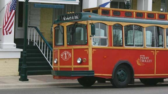 Stafford's Hospitality is offering to sell this road trolley to downtown Petoskey officials for $1.