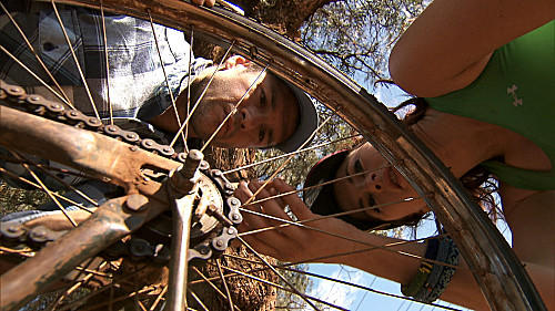 "Engaged couple Brendon and Rachel patch two flat tires on ""The Amazing Race."""