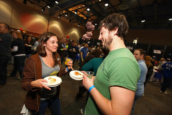 Jen Piotter and Brad Rudasill during the Baconfest 2012 at the UIC Forum in Chicago, Illinois on April 14, 2012.