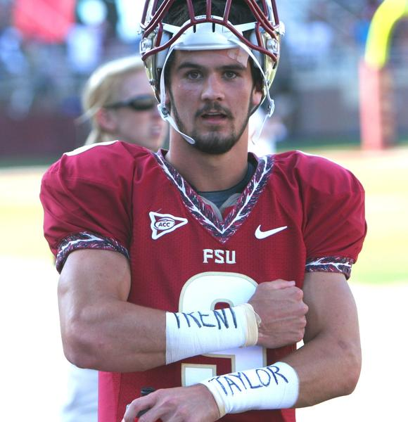 FSU backup quarterback Clint Trickett show his support for Trent Taylor during the Garent and Gold Game on Saturday. Taylor, a 22-year-old FSU student, died last week from head injuries suffered in an altercation in Orlando.