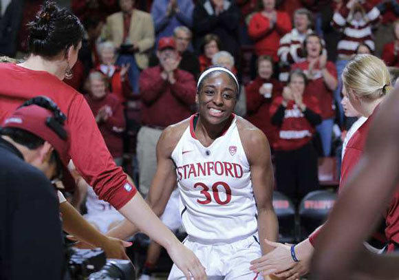 Stanford forward Nnemkadi Ogwumike heads onto the court during player introductions before a Feb. 29 game.