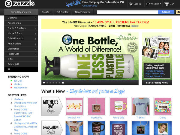 "Online retailer Zazzle.com is offering a tax day discount. Shop anytime through Monday, April 16, and take 10.40 percent off your purchase by entering the code ""TAXDAYSAVING"" at checkout."