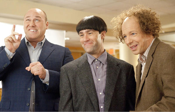 "In this image released by 20th Century Fox, from left, Will Sasso, Chris Diamantopoulos, and Sean Hayes are shown in a scene from ""The Three Stooges."""