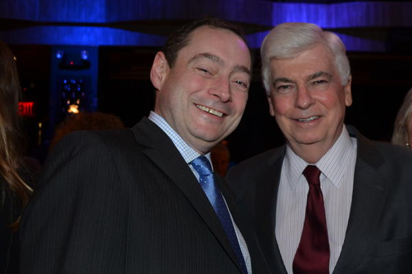Michael Stotts, left, managing director of Hartford Stage; and Chris Dodd, former U.S. senator and chairman of the Motion Picture Association of America, attend the Eugene O'Neill Center fundraiser Monday that recognized the theatrical achievments of Michael Douglas.