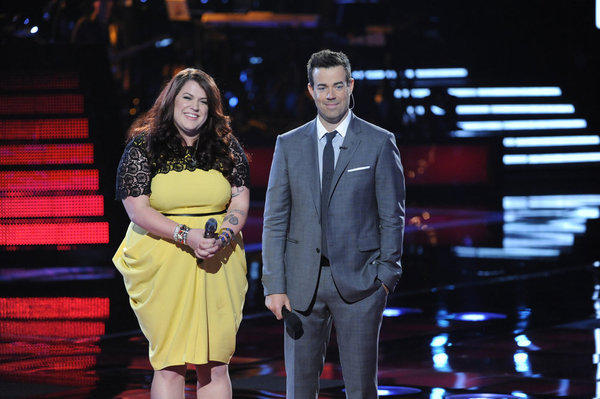 "Gaithersburg's Erin Willet (left) with ""The Voice"" host Carson Daly on Monday night's show."