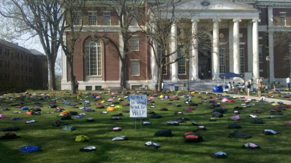Active Minds, Inc. displayed 1,100 backpacks on the lawn at Wesleyan University's Olin Library on Monday. The backpacks represented the 1,100 college students who commit suicide each year. The display urged college students to not be afraid to ask for help if they are depressed.