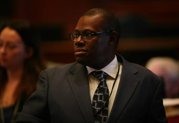 Rep. Derrick Smith, seen here last fall, returned to the Illinois House today following his federal bribery indictment.